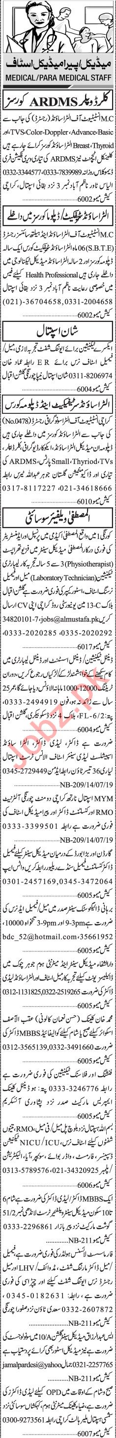 Jang Sunday Classified Ads 21st July 2019 for Medical Staff