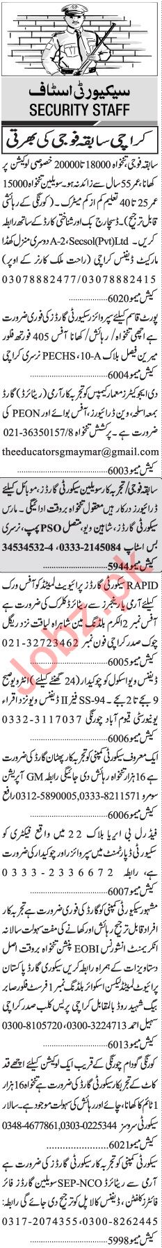 Jang Sunday Classified Ads 21st July 2019 for Security Staff