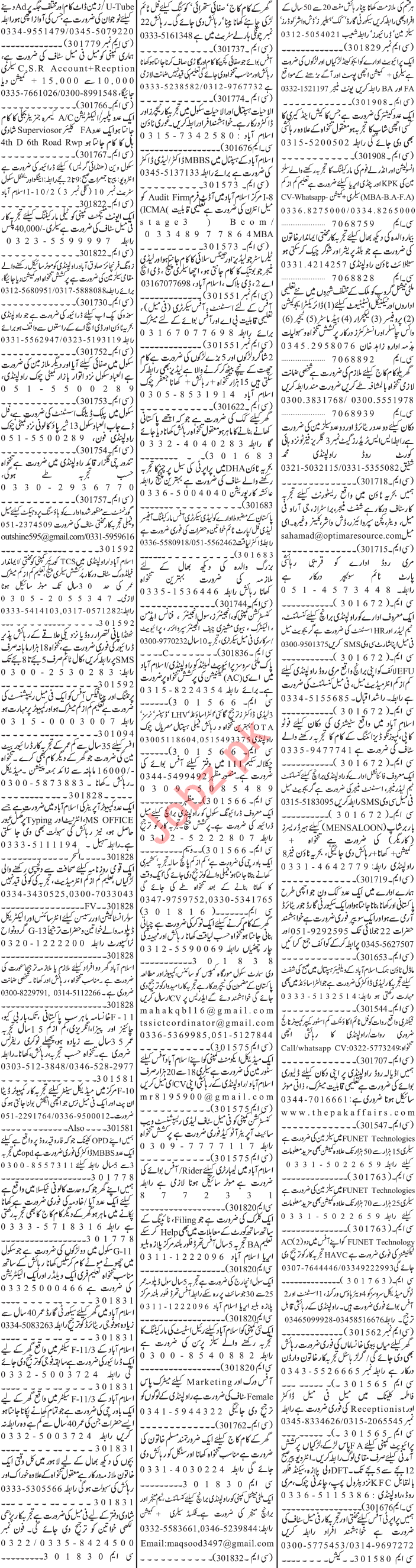 Jang Sunday Classified Ads 21st July 2019 for Office Staff