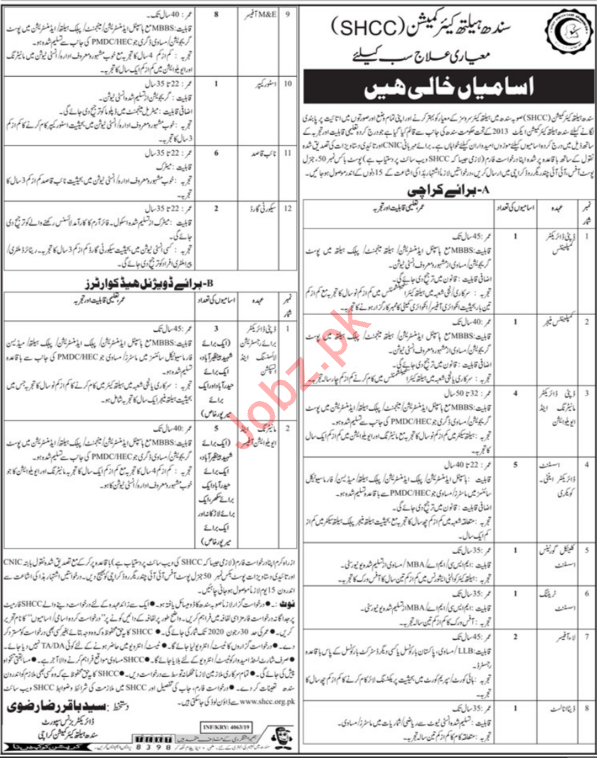 Sindh Healthcare Commission SHCC Jobs 2019 For Karachi