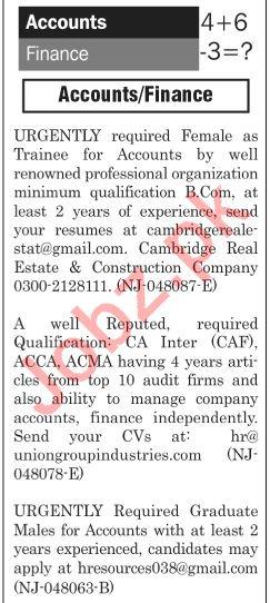 The News Sunday Classified Ads 21st July 2019 Accounts Staff