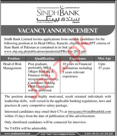 Sindh Bank Limited Job For Head Risk Management