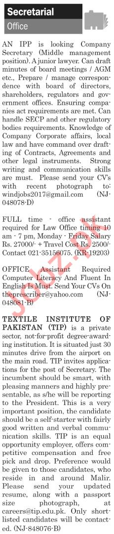 The News Sunday Classified Ads 21st July 2019 Secretarial