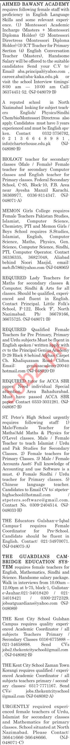 The News Sunday Classified Ads 21st July 2019 for Teachers