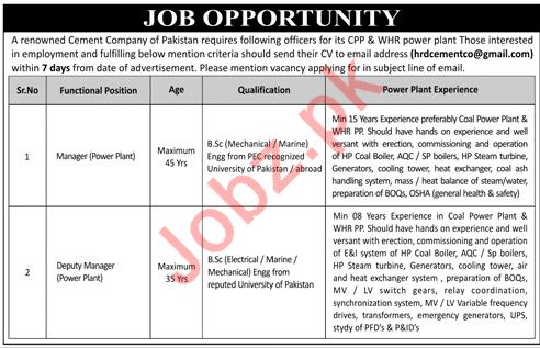 Manager Power Plant & Deputy Manager Power Plant Jobs 2019