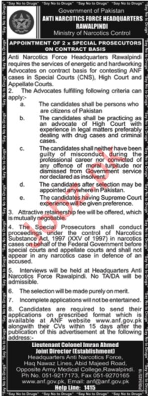 Anti Narcotics Force Headquarters Rawalpindi Jobs 2019