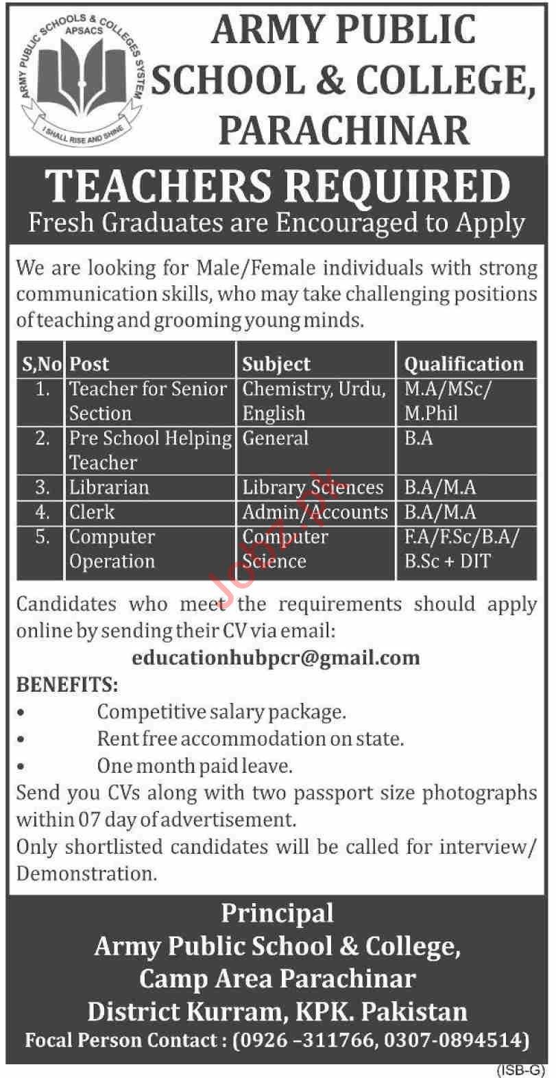 Army Public School & College Camp Area Parachinar Jobs 2019