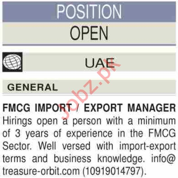 Import Manager & Export Manager Jobs 2019 in UAE