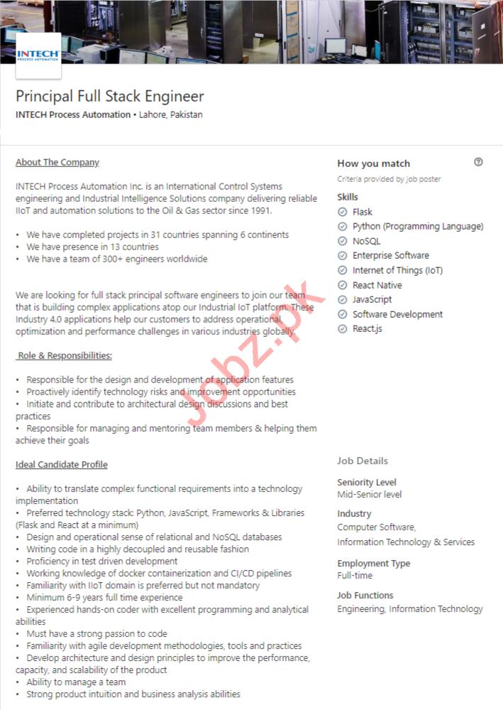 Principal Full Stack Engineer Job 2019 in Lahore