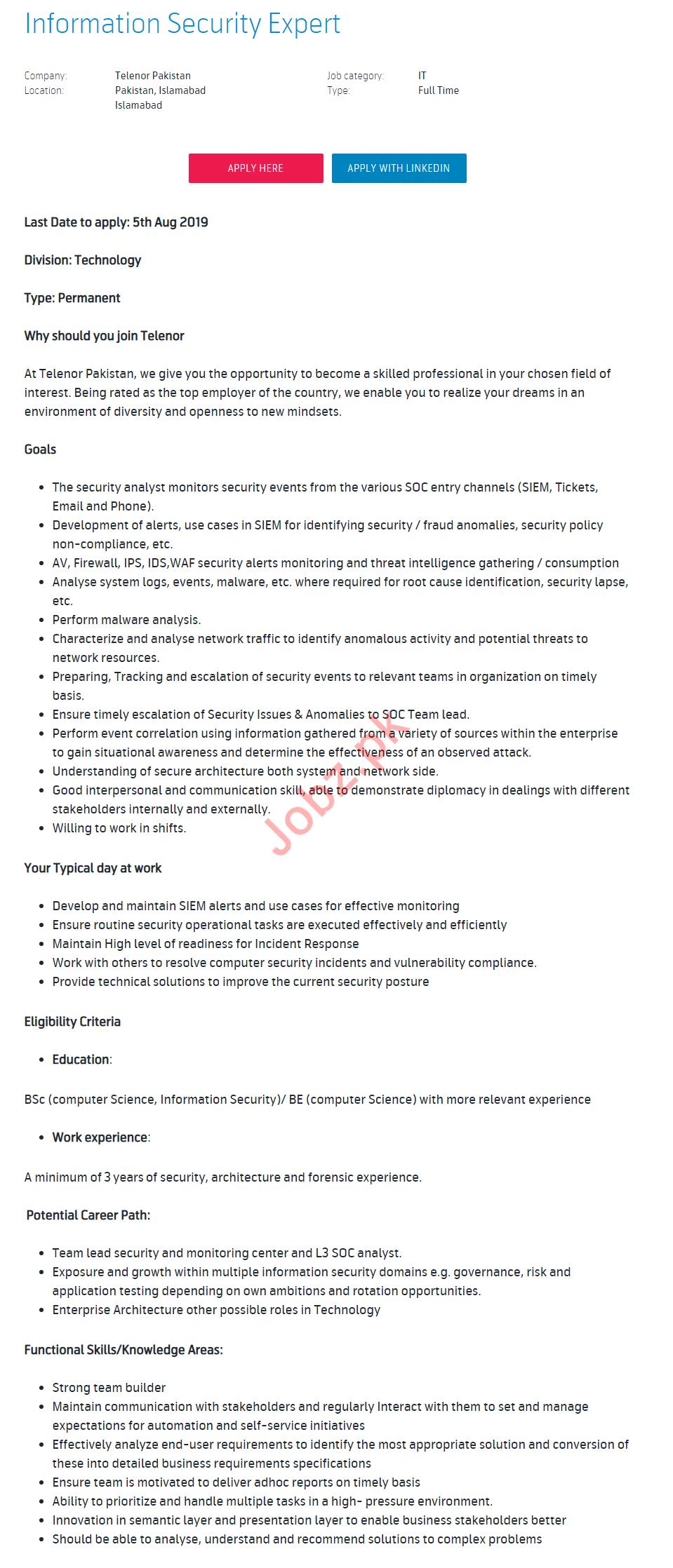 Information Security Expert Jobs 2019 in Islamabad