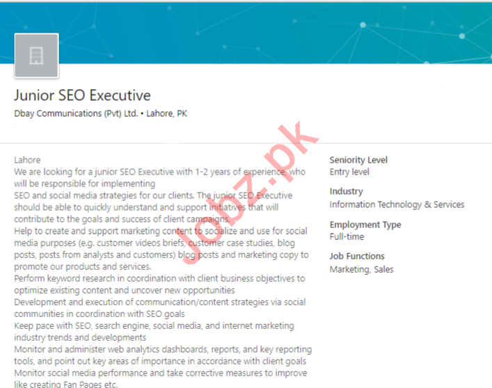 Dbay Communications Lahore Jobs for SEO Executive