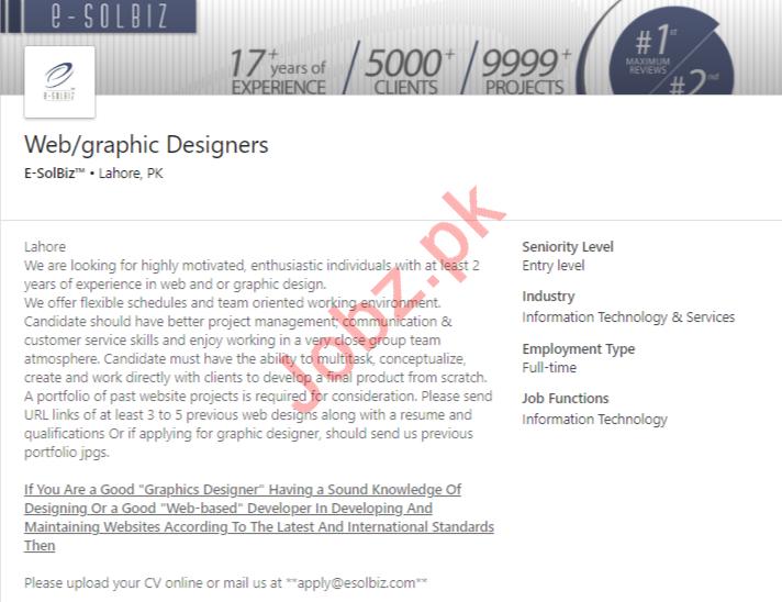 E SolBiz Lahore Jobs for Graphic Designers