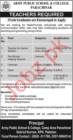 Army Public School & College Parachinar Jobs 2019