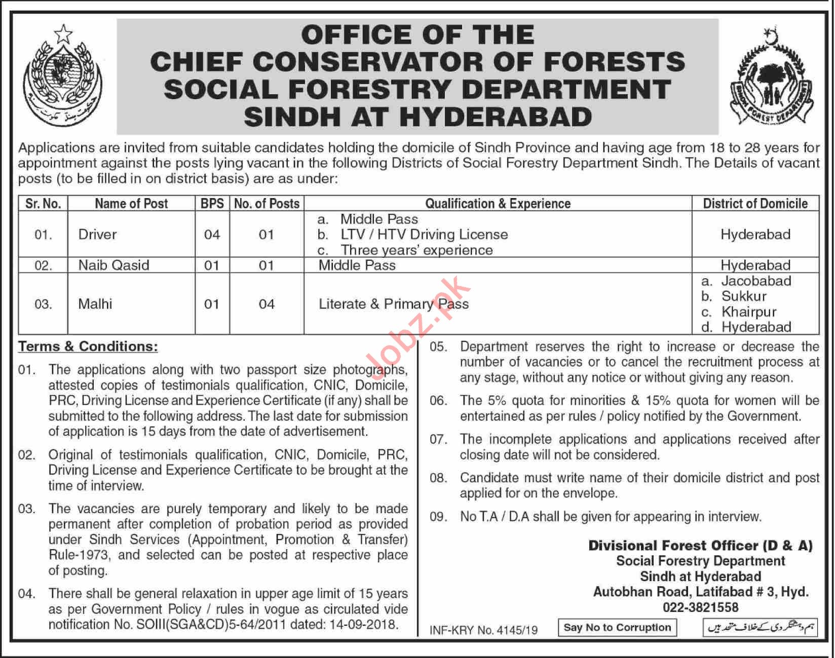 Social Forestry Department Sindh Jobs 2019 for Drivers