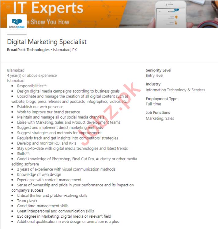 Digital Marketing Specialist Job in Islamabad