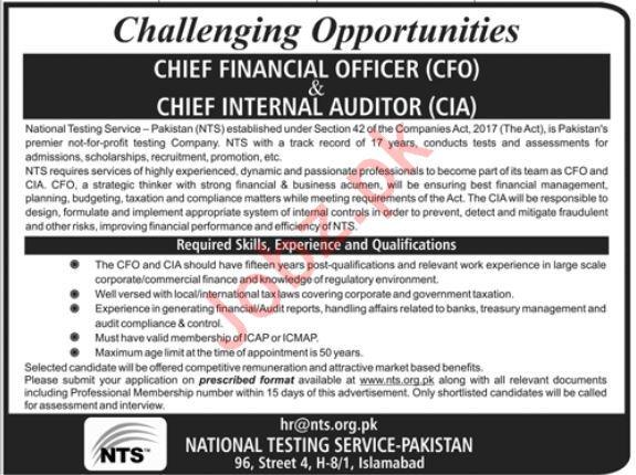 NTS National Testing Service Pakistan Jobs in Islamabad