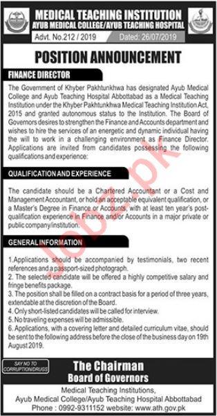 Medical Teaching Institution AMC Abbottabad Job 2019