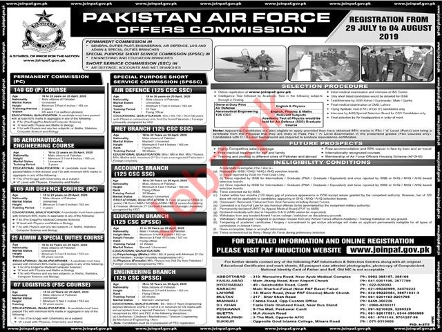 Pakistan Air Force Commission Officer Jobs 2019
