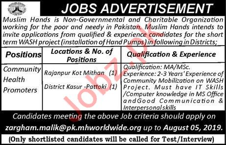 Muslim Hands NGO Jobs For Community Health Promoters