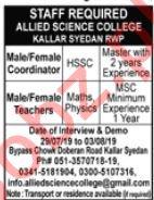 Allied Science College Kallar Syedan Jobs 2019 for Teachers