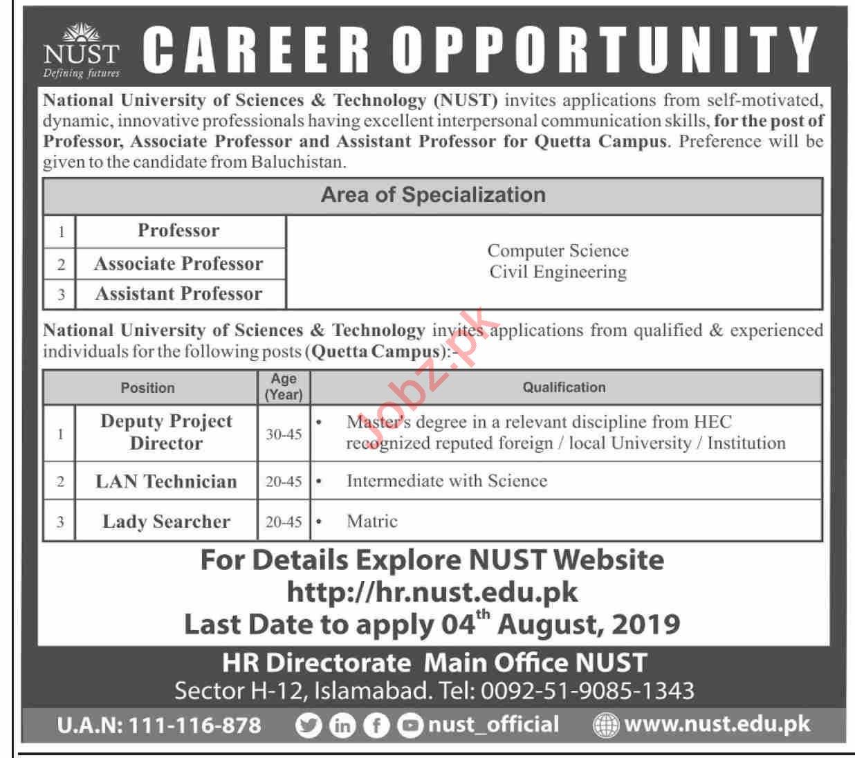 NUST University Islamabad Jobs 2019 for Professors