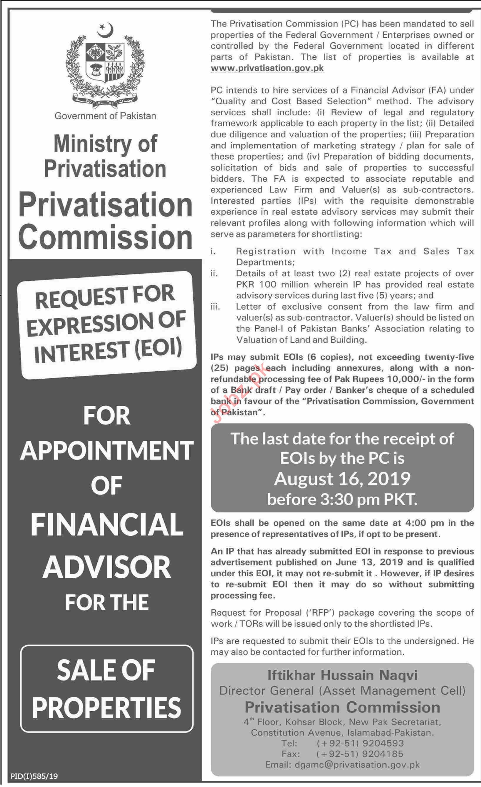 Privatisation Commissions Islamabad Jobs Financial Advisor