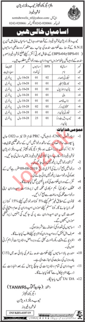Tube Wells Division Jobs 2019 in Nowshera