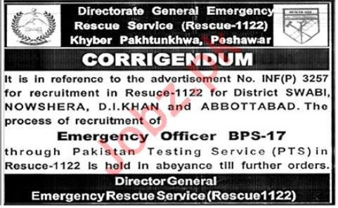 Join Rescue 1122 KPK Emergency Rescue Service Jobs via PTS