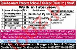 Quaid e Azam Rangers School & College Walk In Interview 2019