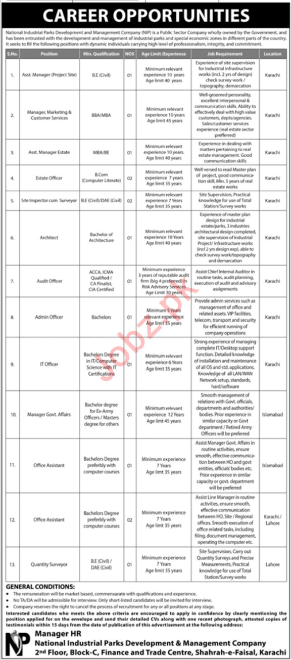 National Industrial Parks Development Karachi Jobs 2019