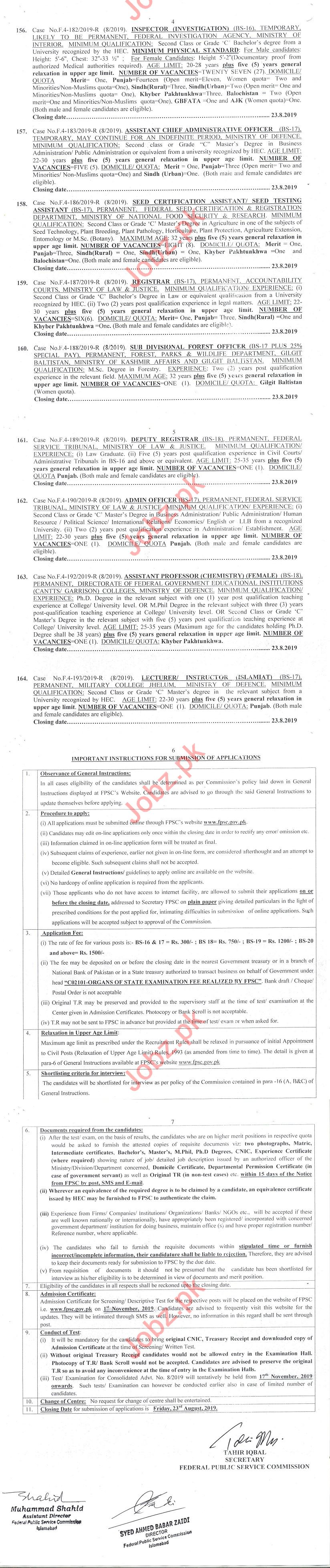 FPSC Islamabad Model Colleges Jobs 2019 for Lecturers