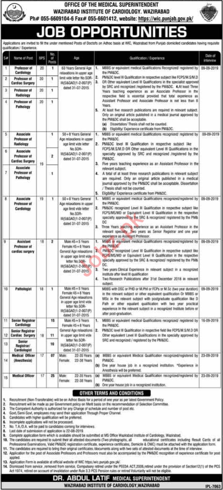 Wazirabad Institute of Cardiology WIC Jobs 2019