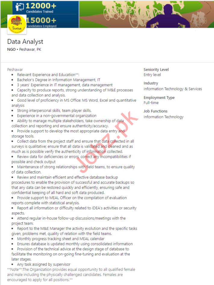 Data Analyst Job 2019 in Peshawar KPK 2019 Job Advertisement