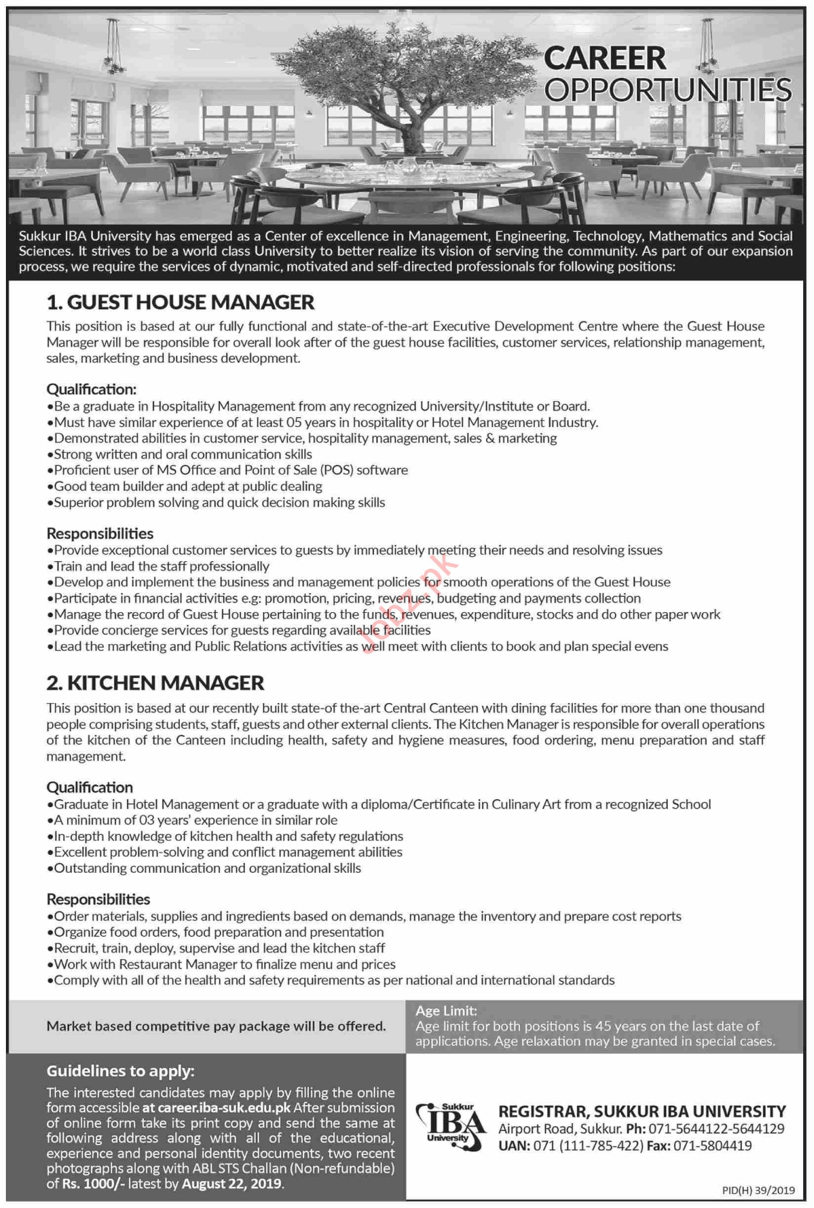 Guest House Manager Kitchen Manager Jobs In Sukkur Iba