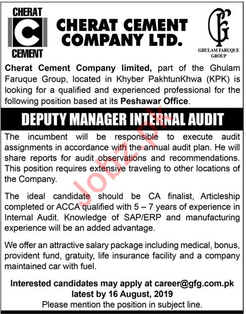 Cherat Cement Company Ltd Job 2019 in Peshawar KPK 2019 Job