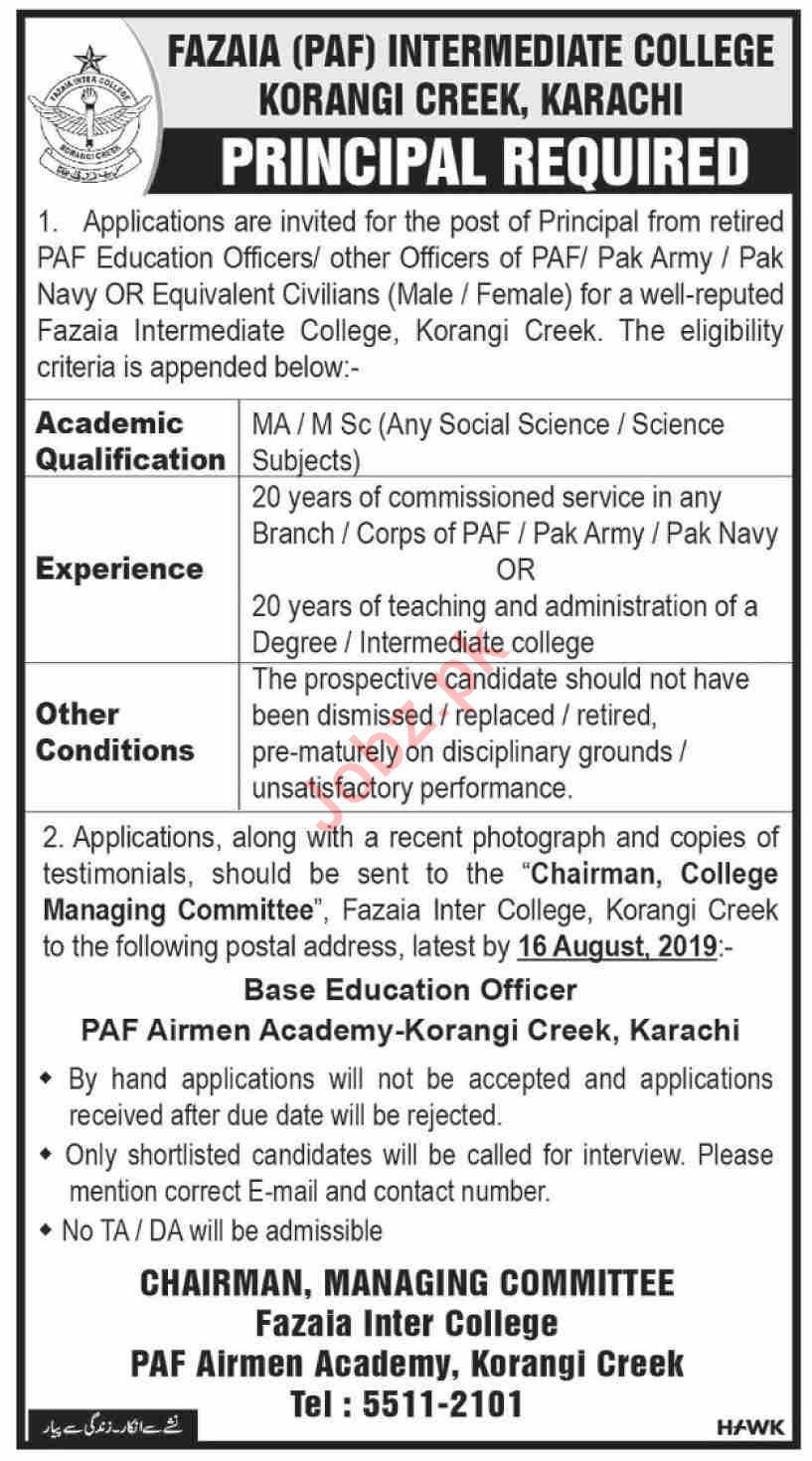 Fazaia Inter College PAF Karachi Jobs 2019