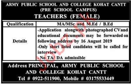 Army Public School & College Kohat Cantt Teaching Jobs 2019