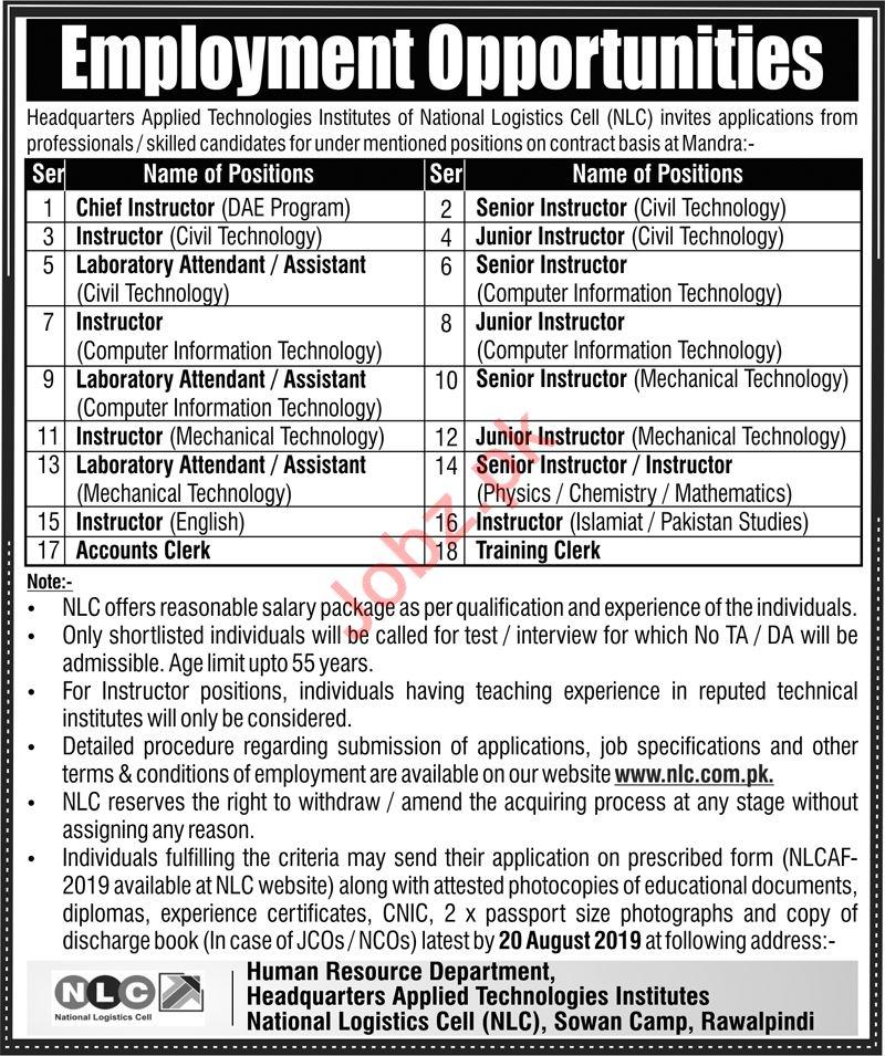 National Logistics Cell NLC Jobs in Mandrah