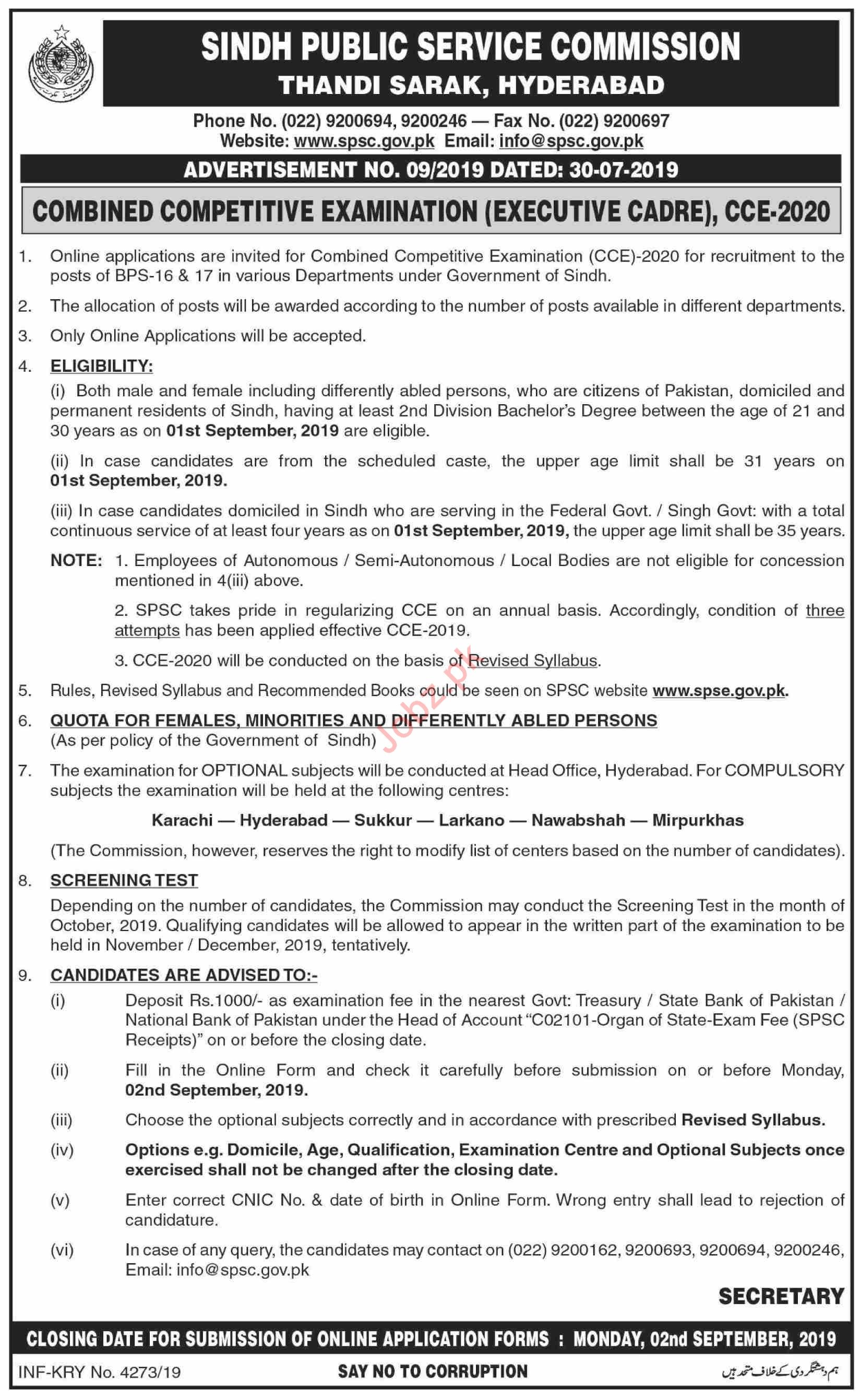 Sindh Public Service Commission Hyderabad Jobs 2019