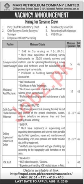 Mari Petroleum Company Limited Jobs in Islamabad