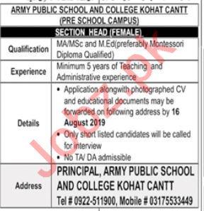 Army Public School & College APS&C Kohat Cantt Jobs 2019