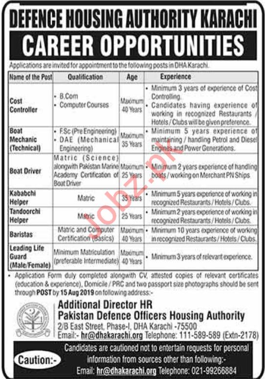 Defence Housing Authority DHA Jobs 2019 in Karachi 2019 Job
