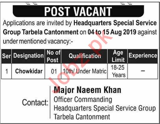 Pakistan Army Headquarters Special Service Group SSG Jobs