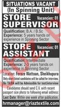 Spinning Unit Jobs 2019 in Sheikhupura