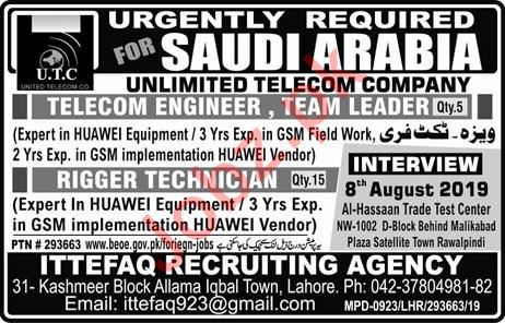 Unlimited Telecom Company Jobs For Saudi Arabia