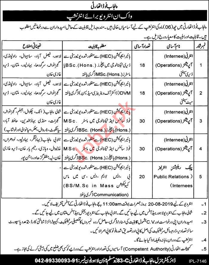 Punjab Food Authority Walk In Interviews For Internship