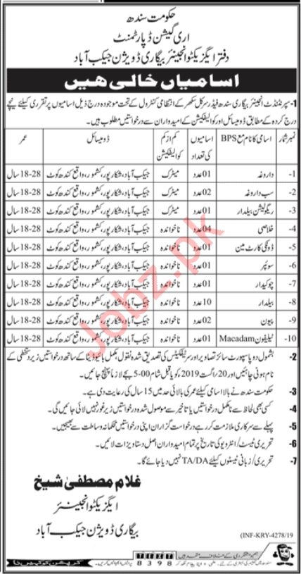 Irrigation Department Jacobabad Jobs 2019 Job Advertisement Pakistan