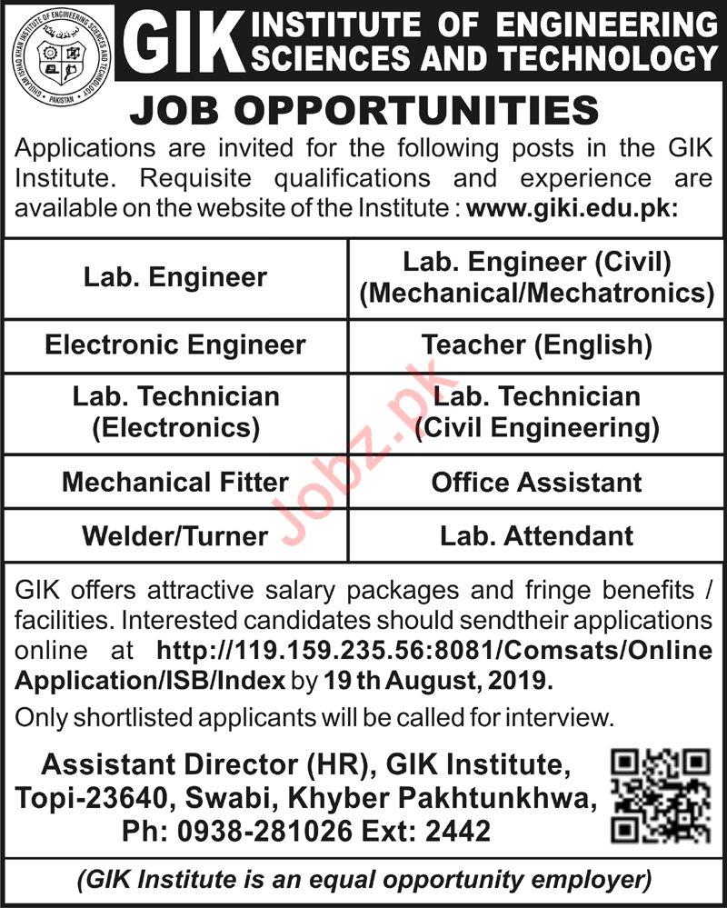 GIK Institute Of Engineering Science & Technology Jobs 2019