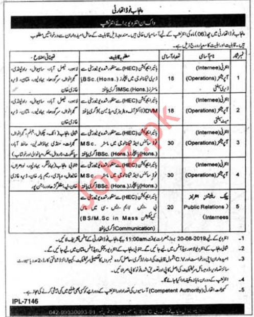 Punjab Food Authority PFA Walk In Interviews 2019