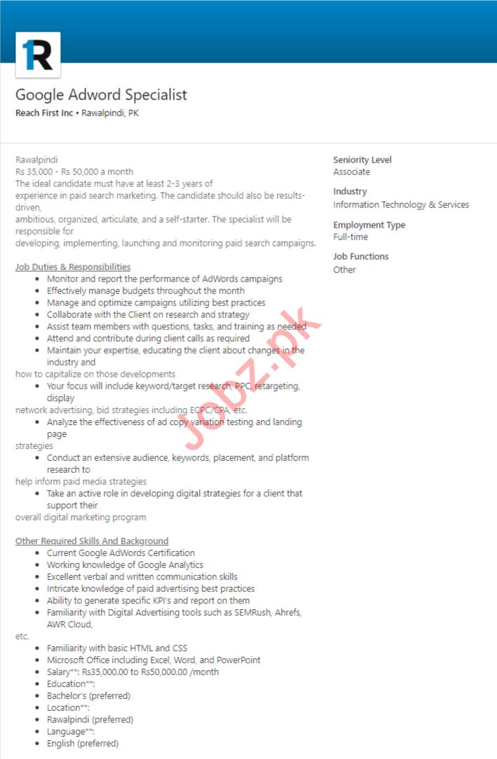Google Adword Specialist Job in Rawalpindi